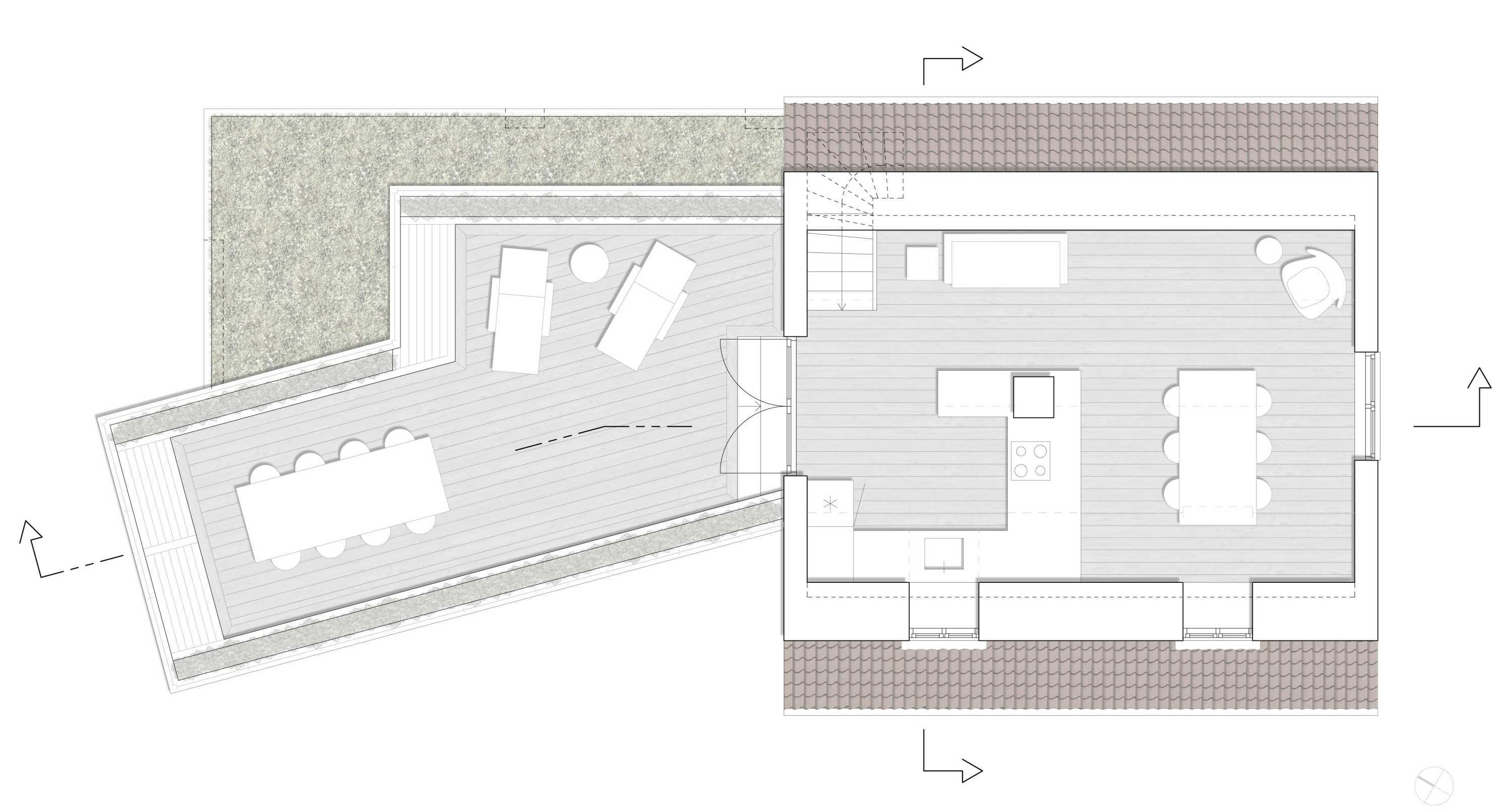 Villa Strib, Tilbygning, Grundplan