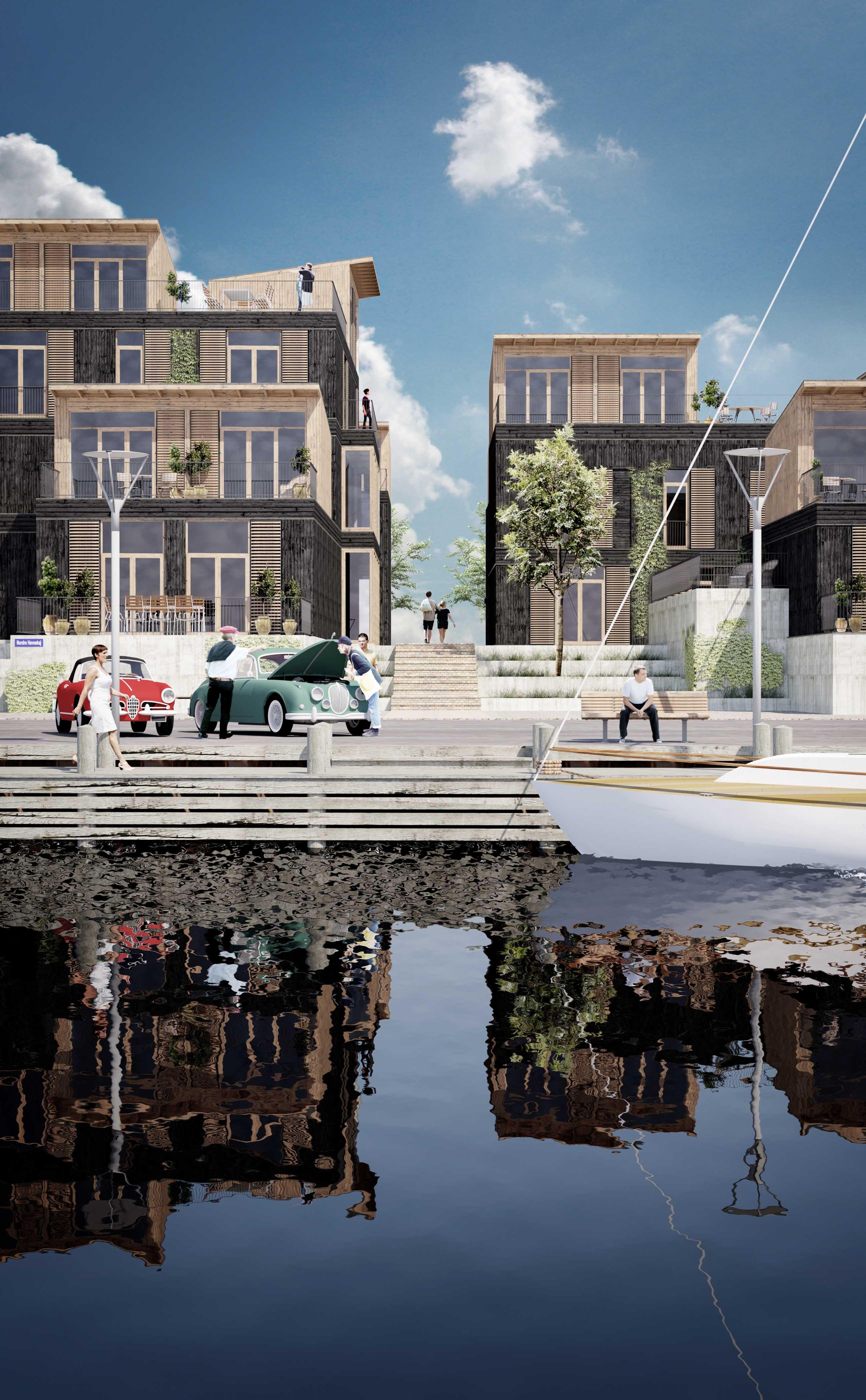 Havnefront med boligbyggeri og promenade