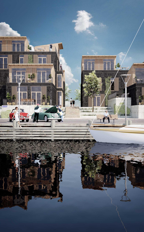 Billede af Projekt Strandkilen, Kerteminde havns havnefront set fra vandet, Projekt af Kroghede Arkitektur, Arkitekt i Aarhus