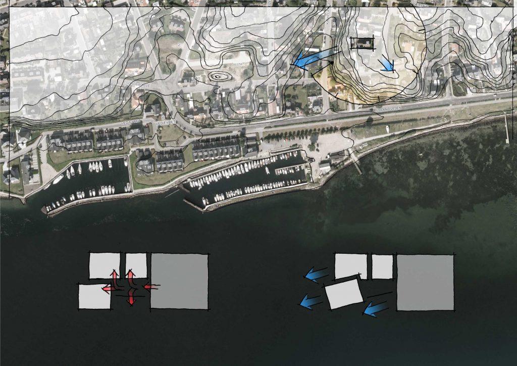 Konceptdiagram over villaens placering set fra luften