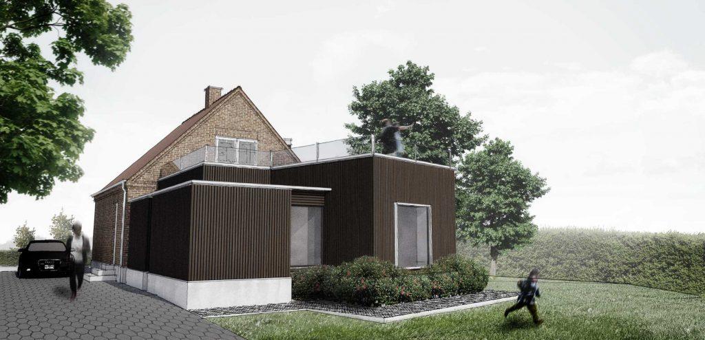 Villa Strib, Tilbygning, Facade