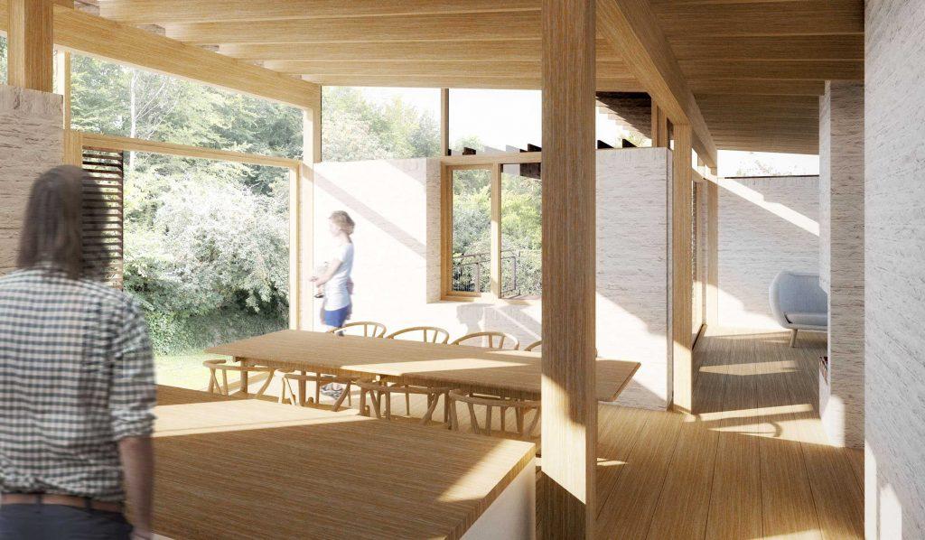 Interiør i redesignet, arkitekttegnet villa